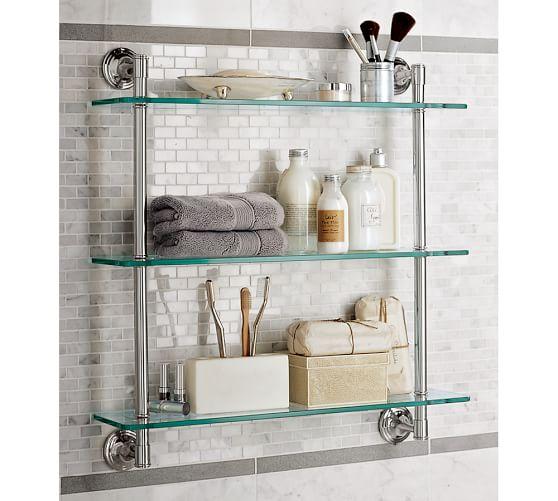 Mercer Triple Glass Shelf Pottery Barn, Glass Shelves For Bathrooms