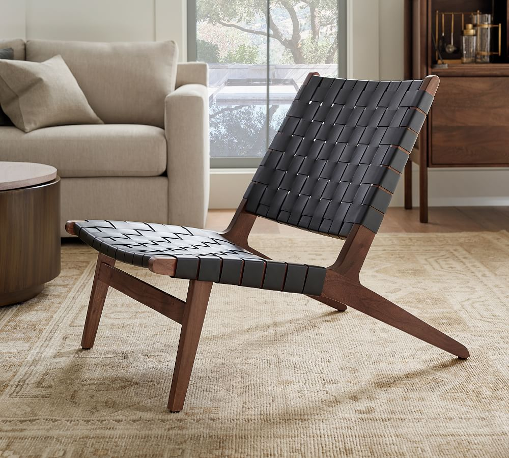 Fenton Woven Leather Accent Chair, Leather Living Room Chair