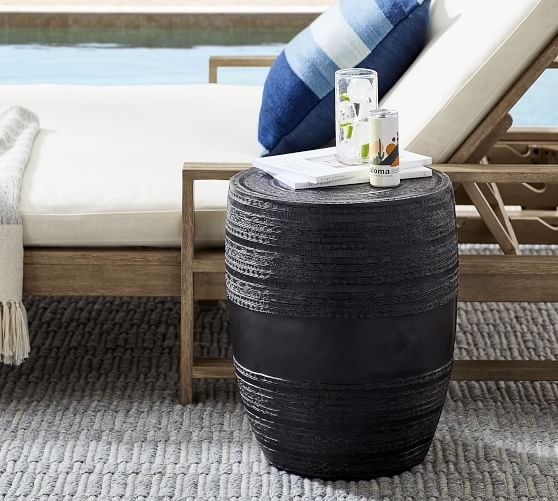 Metal Drum Outdoor Side Table Pottery, Outdoor End Tables