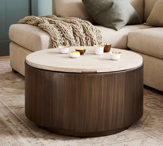 Gilman 30 Round Storage Coffee Table, Round Storage Ottoman Coffee Table