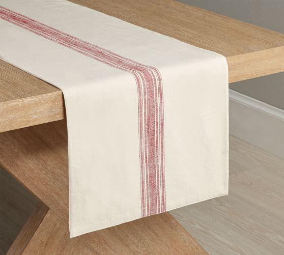 French Striped Organic Cotton Grain Sack Table Runner