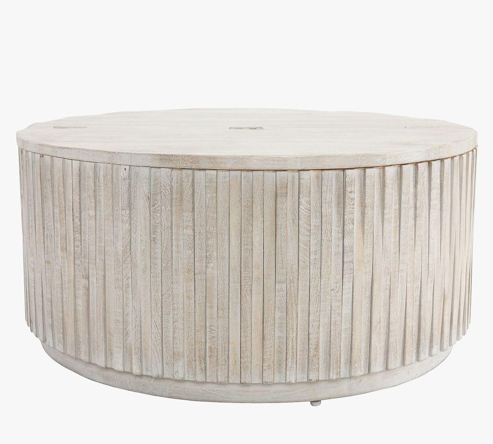 Coloma 40 Round Storage Coffee Table, Storage Ottoman Table Round