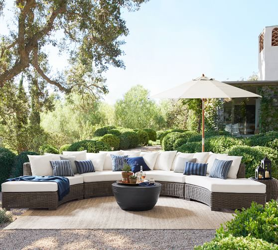 Huntington All Weather Wicker Rounded, Round Outdoor Sectional