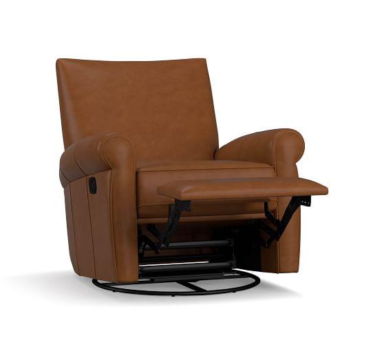 Grayson Leather Swivel Recliner, Club Chair Recliner Swivel