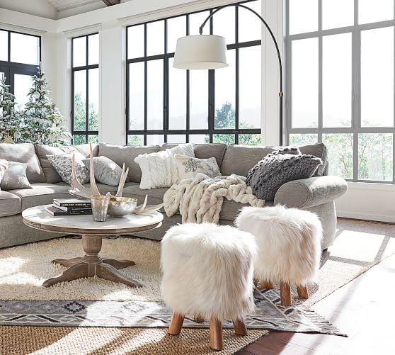 Mongolian Faux Fur Stool Pottery Barn, Living Room Fur