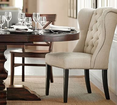 Thayer Tufted Wingback Dining Chair, Wingback Dining Room Chairs