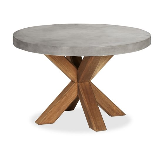 Acacia Round Dining Table Brown, Concrete Round Dining Table For 6