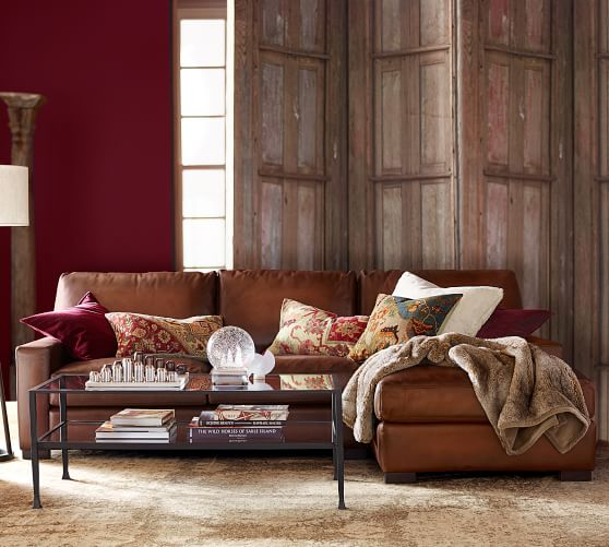 Turner Square Arm Leather Sofa Chaise, Round Sectional Leather Sofa