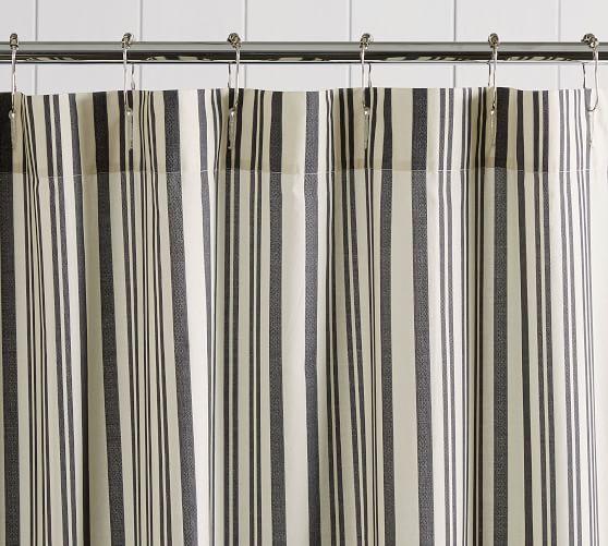 Antique Stripe Organic Shower Curtain, Grey Striped Shower Curtain