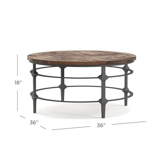 Parquet 36 Round Reclaimed Wood Coffee, Round Reclaimed Wood Coffee Table