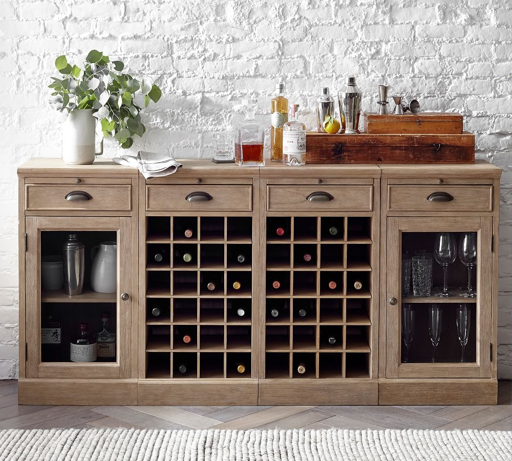 Modular Bar 72 Buffet With Double Wine, Dining Room Buffet Table With Wine Rack