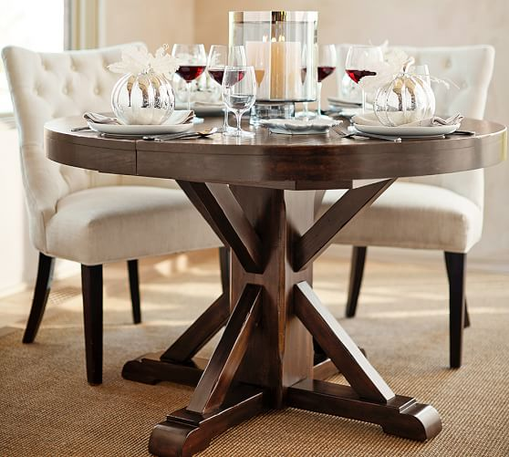 Benchwright Round Pedestal Extending, Pottery Barn Tables Round