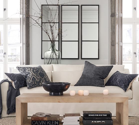 Cade Windowpane Wall Mirror Pottery Barn, Wall Mirrors For Living Room