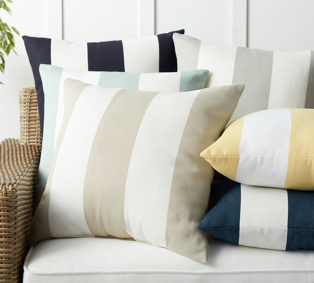 Classic Striped Indoor/Outdoor Pillows   Pottery Barn