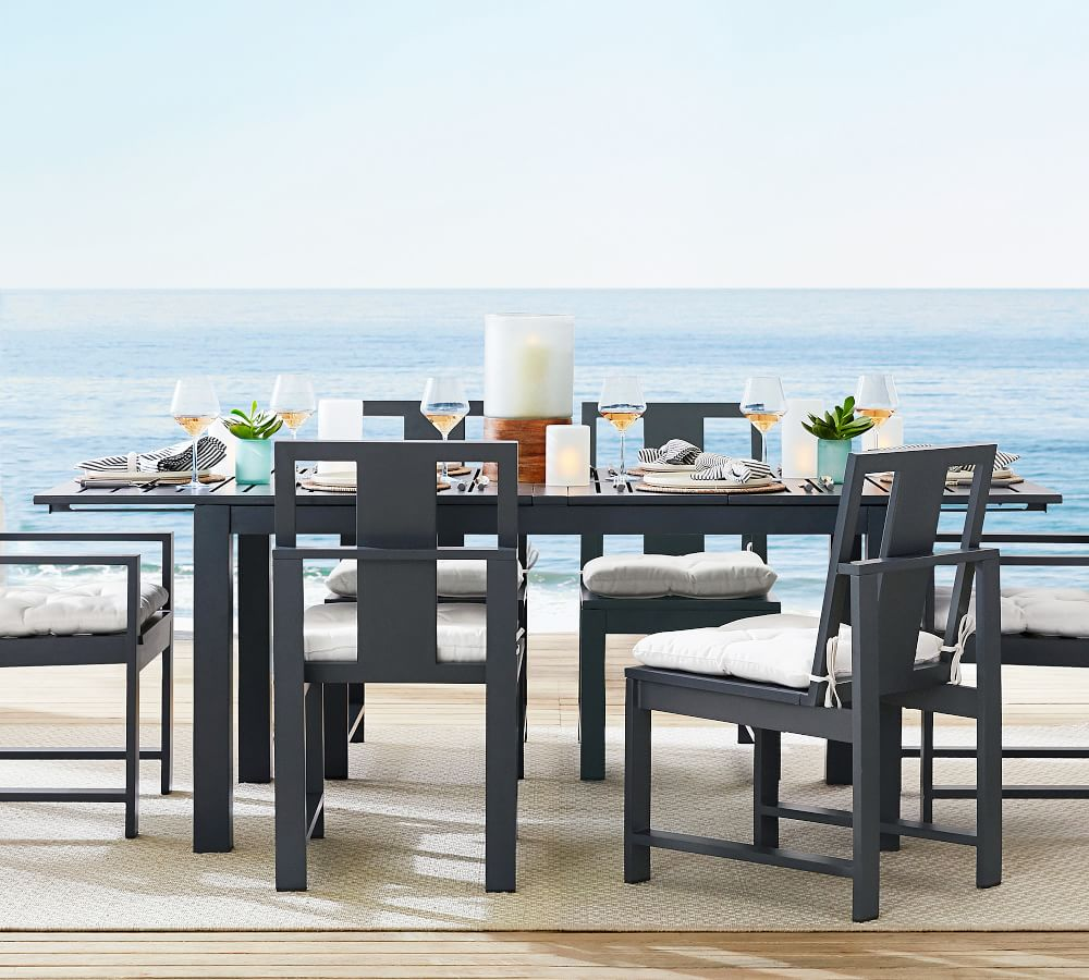 Indio 60 Metal Extending Dining Table, Slate Dining Room Table Setup
