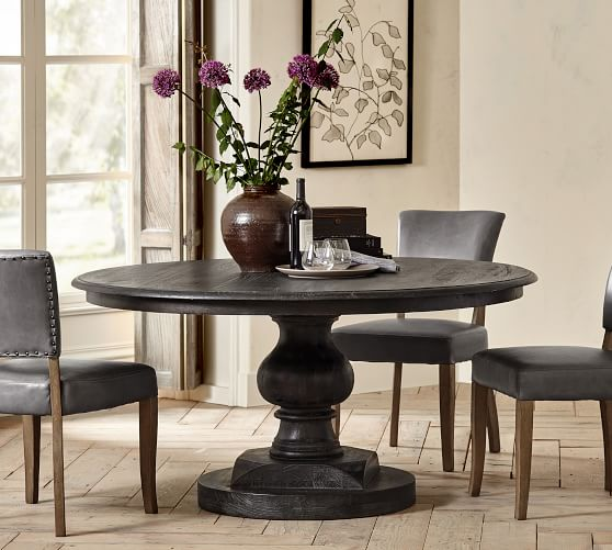 Nolan Round Pedestal Dining Table, 60 Round Pedestal Dining Table With Leaf