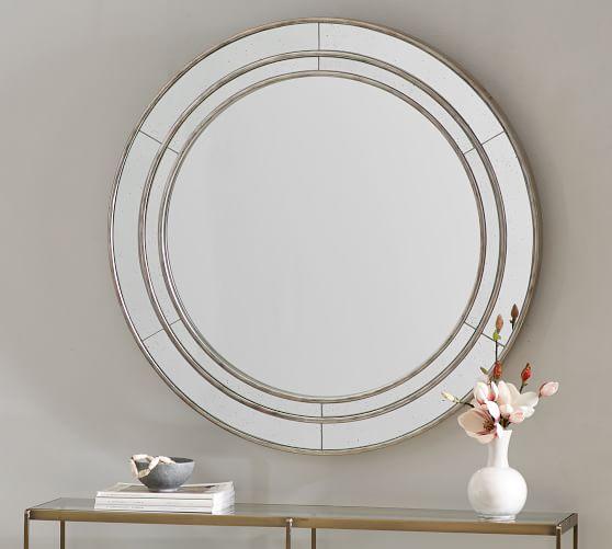 Marlena Round Antique Glass Frame Wall, 40 Round Mirror