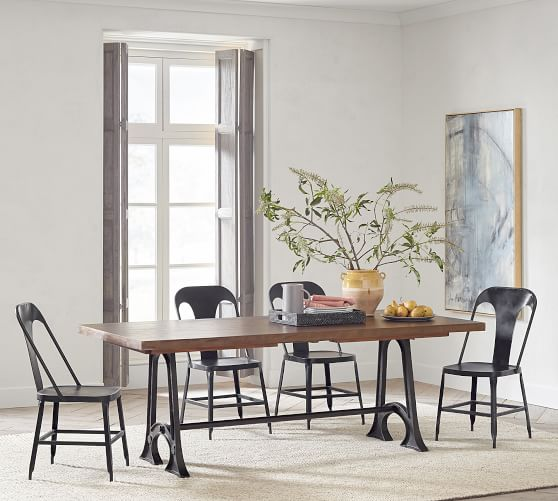Weathered Industrial Extending Dining, Industrial Dining Room Table