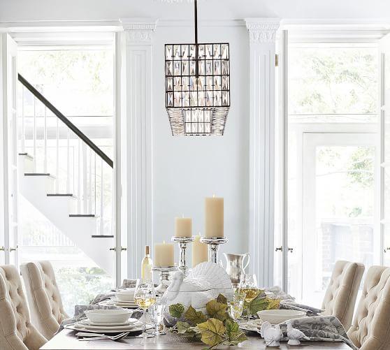 Adeline Crystal Rectangular Chandelier, Rectangular Chandelier Dining Room