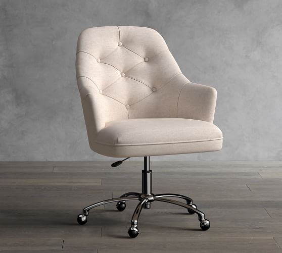 Everett Upholstered Swivel Desk Chair, Grey Fabric Desk Chair With Arms