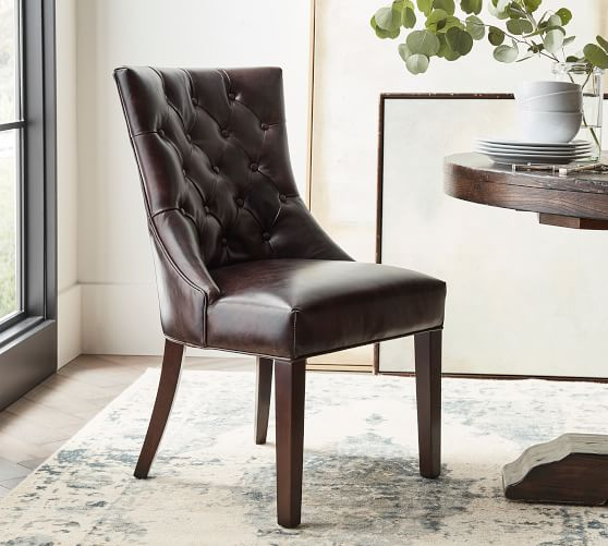 Hayes Tufted Leather Dining Chair, Leather Dining Room Chair
