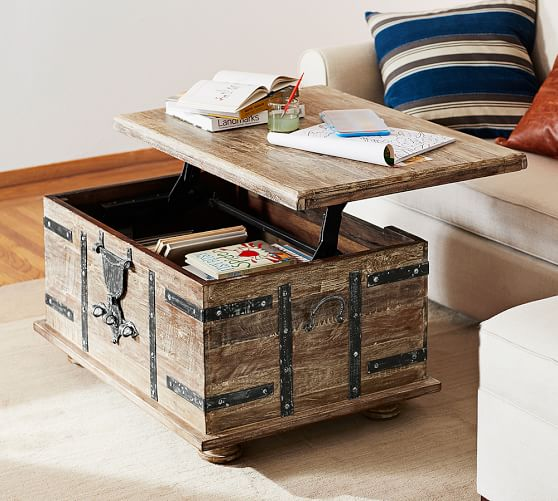 Kaplan Reclaimed Wood Lift Top Coffee, Storage Trunk Table