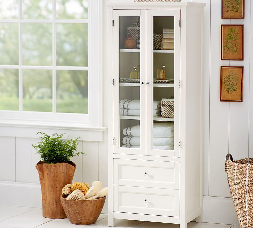 Classic Linen Closet Pottery Barn, Tall Bathroom Linen Cabinet With Hamper