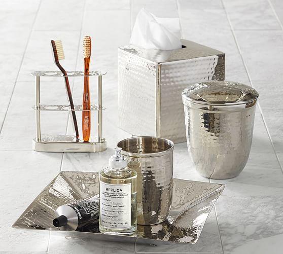 Hammered Nickel Bath Accessories, Polished Nickel Bathroom Accessories