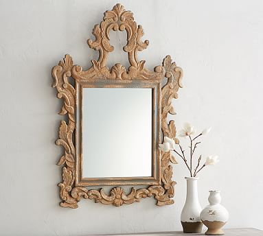 Ornate Carved Wood Wall Mirror, Carved Wood Frame Round Mirror