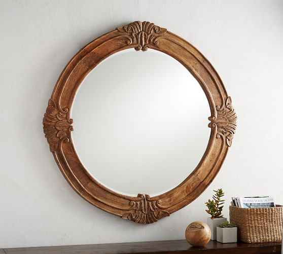 Mendosa Round Wood Wall Mirror, Carved Wood 35 Round Mirror