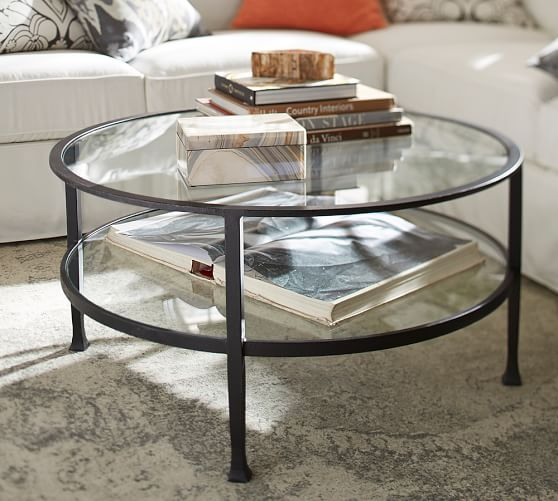 Tanner 36 Round Coffee Table Pottery, Round Metal And Glass Coffee Table