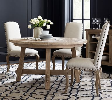 Toscana Round Extending Dining Table, Round Extendable Dining Table Set White