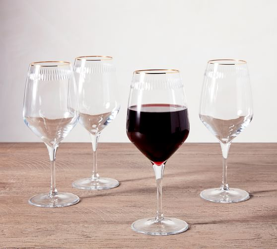 Etched Gold Rim Handcrafted Wine Glasses - Set of 4