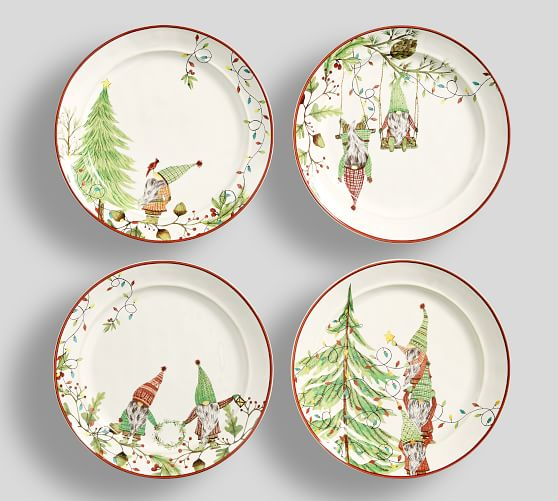 Forest Gnome Stoneware Salad Plates - Set of 4