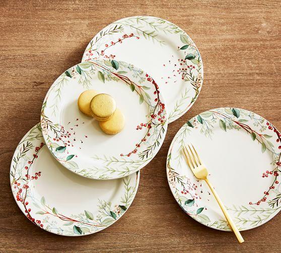 Monique Lhuillier Winter Berry Stoneware Salad Plates - Set of 4