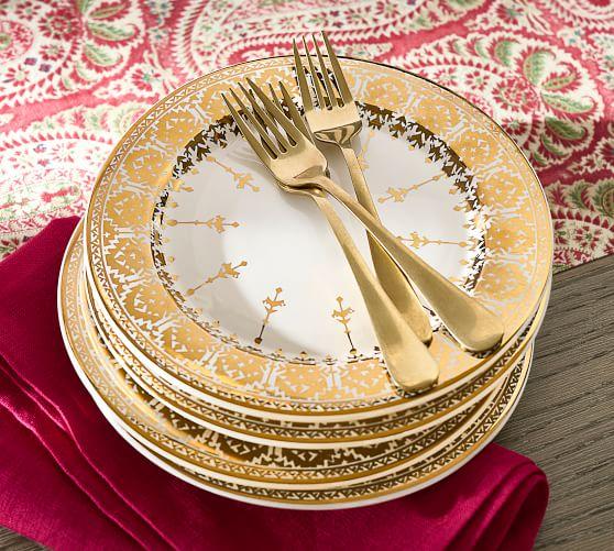 Diwali Gold Pattern Stoneware Salad Plates - Set of 4