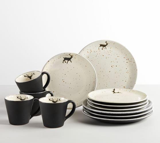 Rustic Reindeer Terra Cotta 12-Piece Dinnerware Set