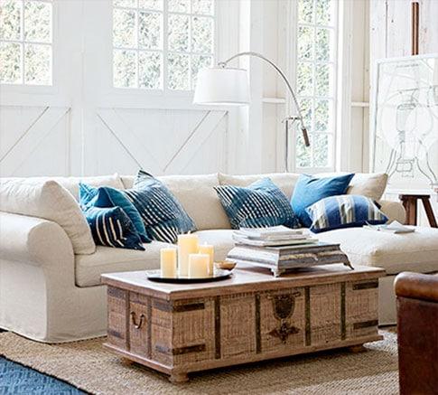 Pb Air Farmhouse Industrial Living Room Living Room Ideas Pottery Barn