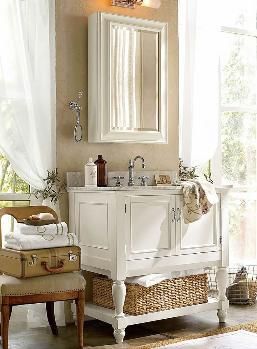 How To Furnish A Small Bathroom Pottery Barn