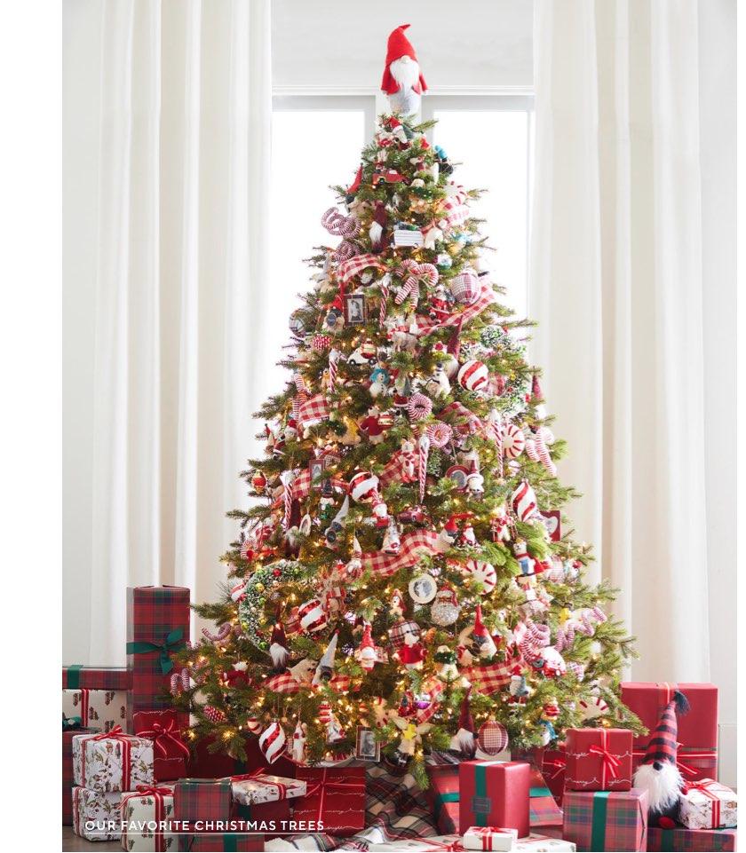 Plaid Christmas decor - cheerful red check on Christmas Tree