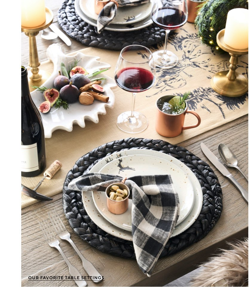 Black plaid check napins and natural tablescape with black woven charger - Pottery Barn