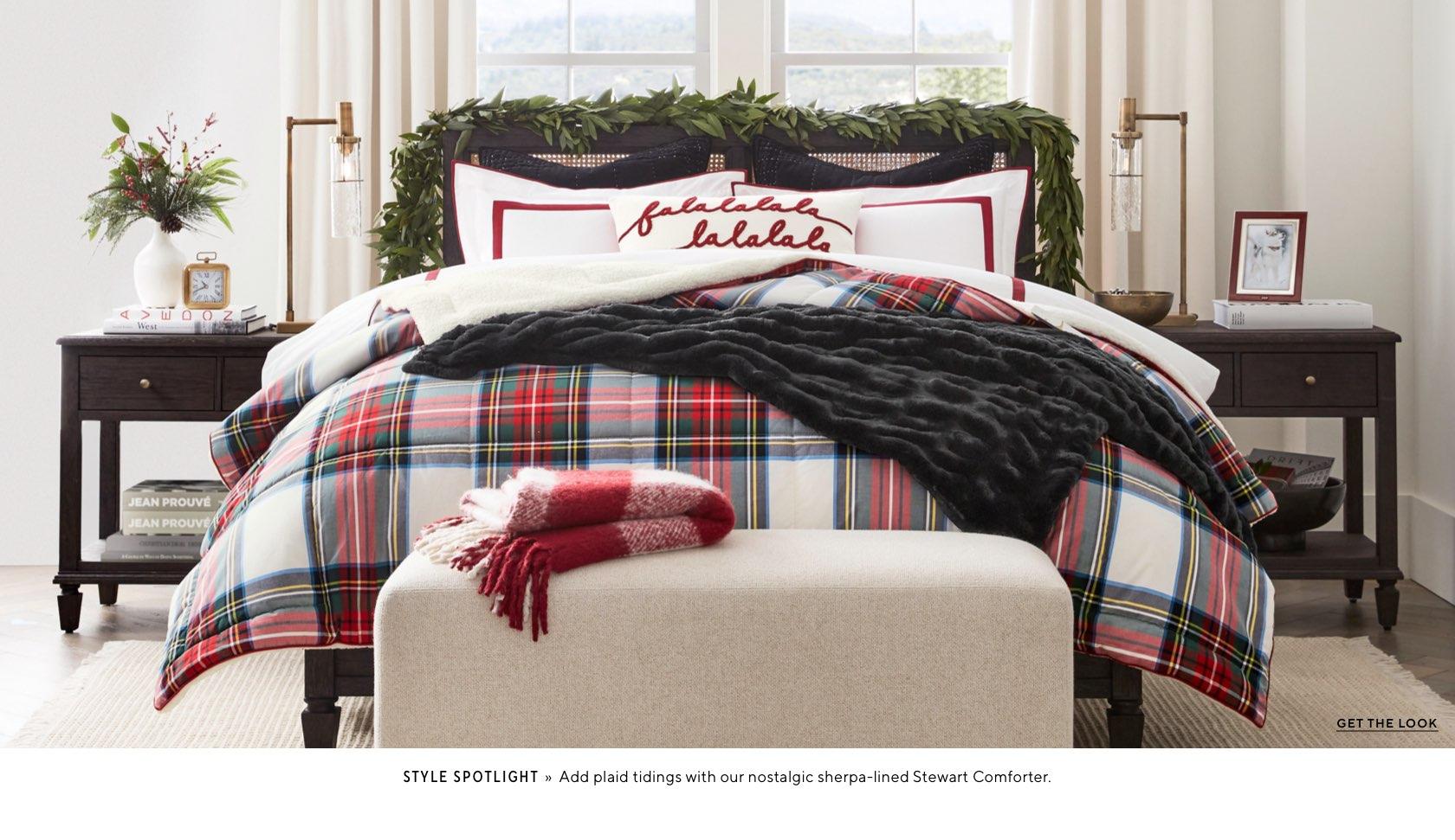 Red classic tartan bedding and Falalalala pillow - Pottery Barn #holidaybedroom