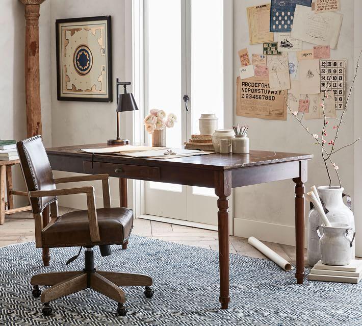 Manchester Swivel Desk Chair Espresso Frame Antique Dark