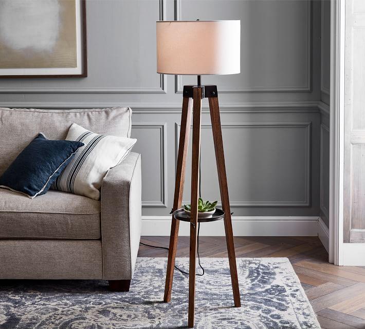 Miles Tripod Wood Floor Lamp Pottery Barn