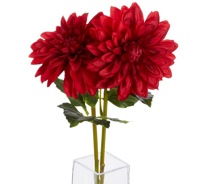Faux Red Dahlia Stem Artificial Flowers Pottery Barn