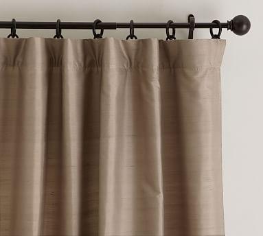 Dupioni Silk Rod Pocket Curtain Brownstone Pottery Barn