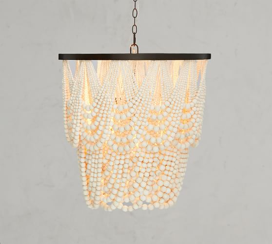 Shop Amelia Wood Bead Chandelier from Pottery Barn on Openhaus