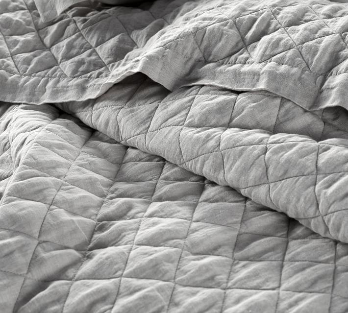 Belgian Flax Linen Diamond Quilt & Shams - Flagstone