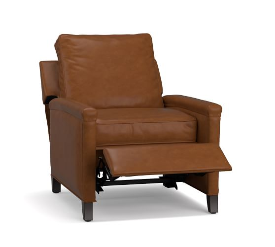 Tyler Leather Square Arm Recliner Chair   Pottery Barn