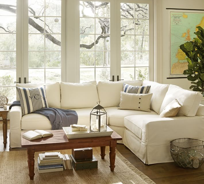 Pb Comfort Square Arm Slipcovered 3 Piece Sectional With